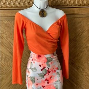 PrettyLittleThing Orange Wrap Crop long sleeve Top